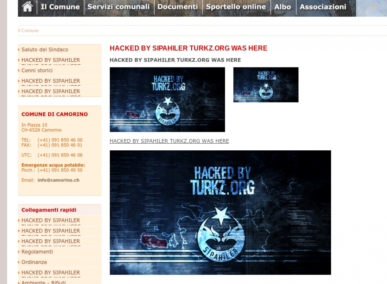 Ticinonline hackerato il sito web di camorino for Sito web di progettazione edilizia