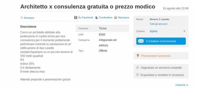 Ticinonline a a a cercasi architetto che lavori gratis for Consulenza architetto gratuita