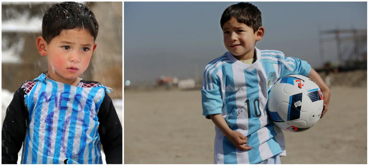 Il Bimbo Con La Maglietta-sacchetto Di Messi