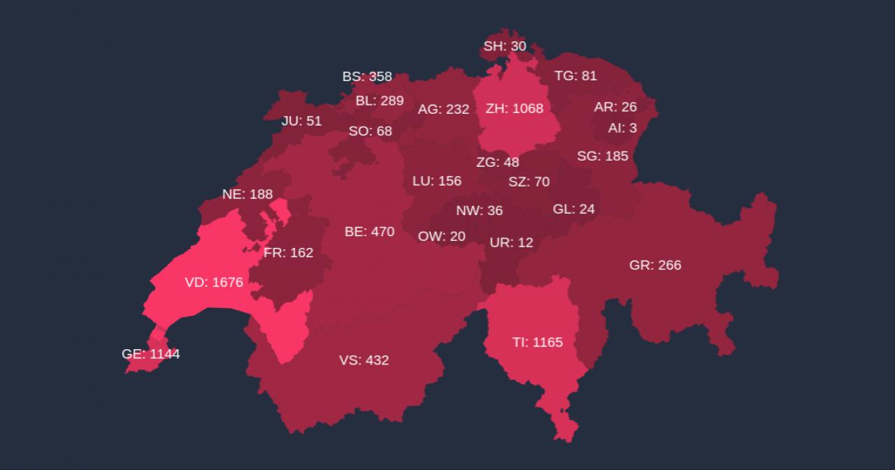 Cartina Svizzera Divisa In Cantoni.Un Dottorando Bernese Ha Realizzato Una Piattaforma Per Monitorare Il Covid 19 Ticinonline