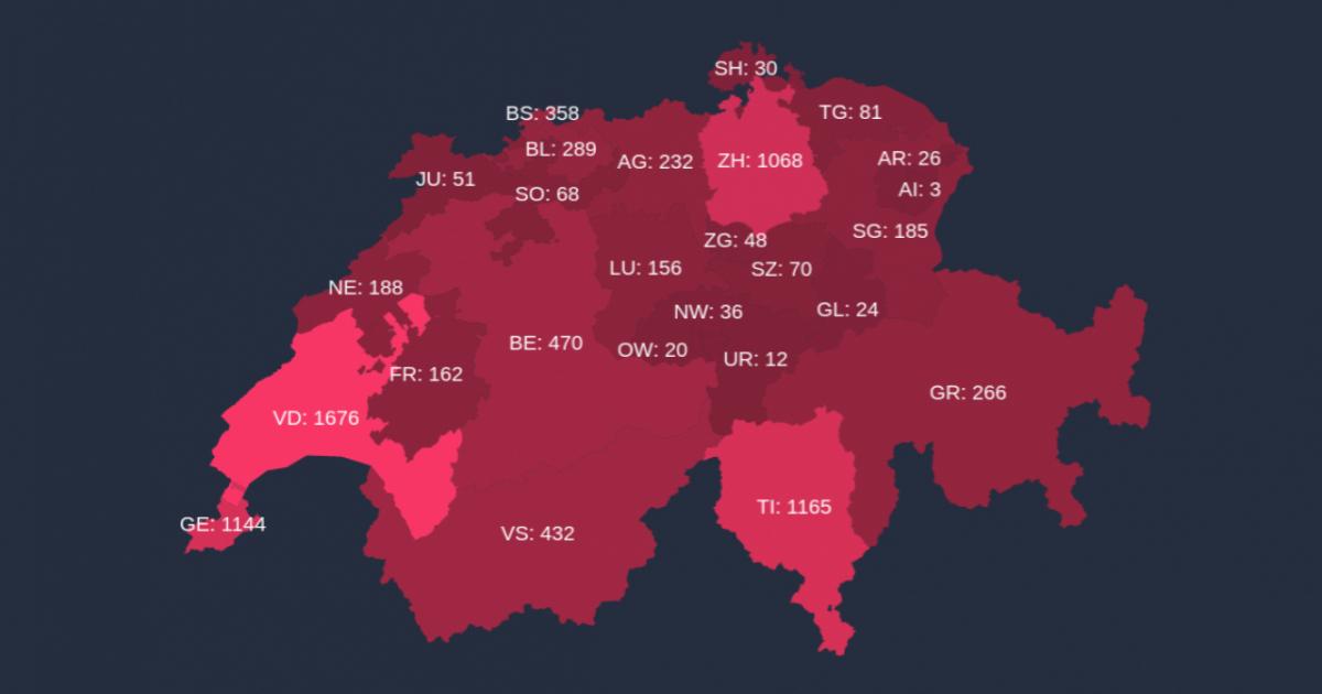 Cartina Della Svizzera Con Cantoni.Un Dottorando Bernese Ha Realizzato Una Piattaforma Per Monitorare Il Covid 19 Ticinonline